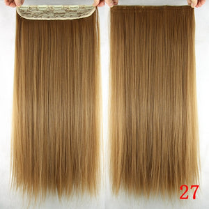 Soowee Long Straight Brown to Blonde Natural Color Women Ombre Hair High Tempreture Synthetic Hairpiece Clip in Hair Extensions