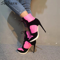 Sorbern Pink Sneaker High Heels Ankle Boots Platform Custom Colors Ladies High Heels Size 6 Stiletto Boots Runway Shoes Lace Up