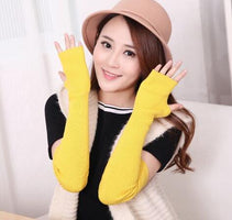 Sparsil Women Autumn Elbow Length Cashmere Knit Glove Solid Color