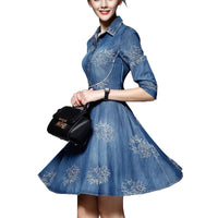 Spring Autumn Women Plus Size Denim Dress Adjustable Sleeves Embroidered Short Jean Cowboy Dress 4xl 5xl Jurken Grote Maten