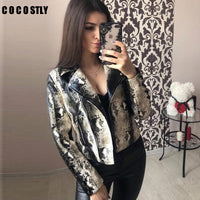 Spring Leather Jacket Women Snake Print Cool Motorcycle