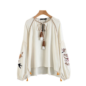 Spring Women New Blouse Round Neck Embroidered Casual Tops Shirt Chiffon Elegant
