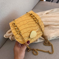 Stone Pattern PU Leather Saddle Bags For Women 2019 Mini Chain Shoulder Crossbody Bag Female Travel Phone Purses and Handbags