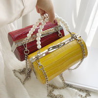 Stone Texture Cylindrical Pearl Handle Pu Fashion Casual Clutch Bag Ladies Shoulder Bag Handbag Women Crossbody Bag Female Bolsa