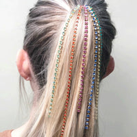 StoneFans Bling Rhinestone Tassel Wedding Hair Chain Bridal Jewelry Crystal Hair Comb Clip Accessories For Women Party Ornament
