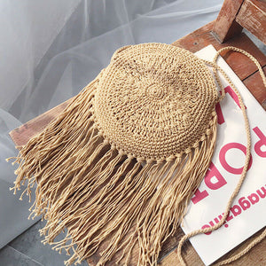 Straw bag female fashion shoulder bag rattan hand-woven round tassel bag messenger beach bag