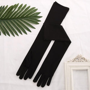Stretch Satin White Glove Long Bridal Gloves Black Red Elbow Length Women