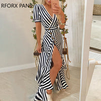 Striped Slit Irregular Ruffles Hem Dress Women Casual Dress