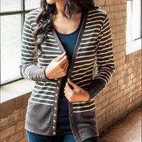 Striped Women Jackets Open Stitch Single-breasted Candy Sweet Knitted Coats 2XL Oversize Slim Autumn Jacket Eyelet Button M0240