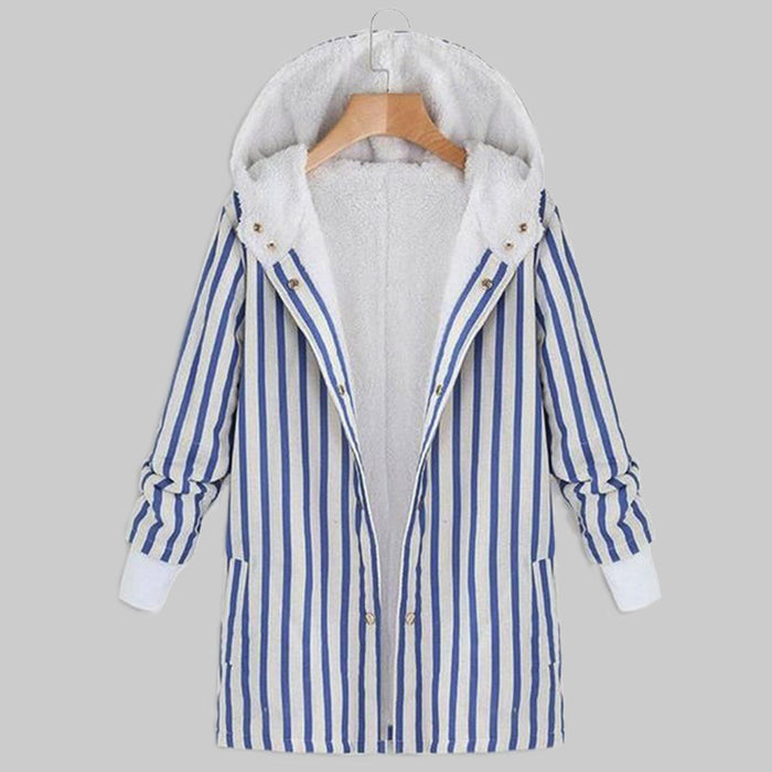 Striped Women Retro Hooded Casual 2019 Autumn Winter Warm Coats Single Breasted Long Sleeve Elegant Women Jackets