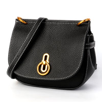 Stylish and luxurious oval crossbody bags for women soft lychee calfskin with unique locks decorated women messenger bags