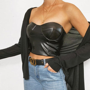 New Hot Faux Leather Leather Breast-wiping Woman Black Crop Top Sexy Short Length Camis for Cosplay Wear Club