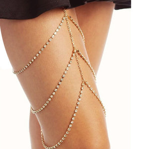 Summer Beach Sexy Multilayer Crystal Thigh Leg Body Chain Beach 3 Layers Jewelry Belly Body Chains Waist Link Necklace for Women