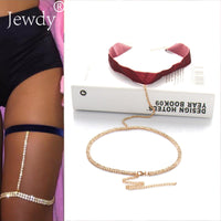 Summer Beach Sexy Ribbon Velvet Crystal Thigh Leg Body Chain Beach Jewelry Belly Body Chains Waist Link Necklace for Women