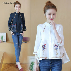 Embroidered Shirts Blusa Tassel Three Quarter Sleeve Loose Split Hem