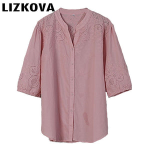 Cotton Linen Embroidered Shirt Ladies Out Tops Blouses Lantern Sleeve V Neck