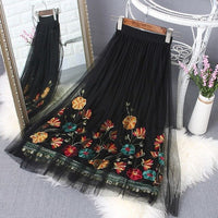 Summer Elastic Waist Flower Skirt Sexy Boho Elegant Black White Embroidered Skirts Embroidery Floral Skirts