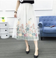 Summer Elastic Waist Gauze Skirt Sexy Boho Elegant Skirt Black White Floral Embroidered Skirts
