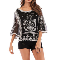 Embroidered Hook Flower Lace Shirts Women Blouses Female