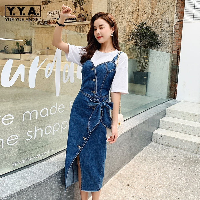 Summer Fashion Women Straps Denim Dress Bow High Waist Mid Calf Long Dress Single Breasted Buttons Slim Fit Suspender Dresses