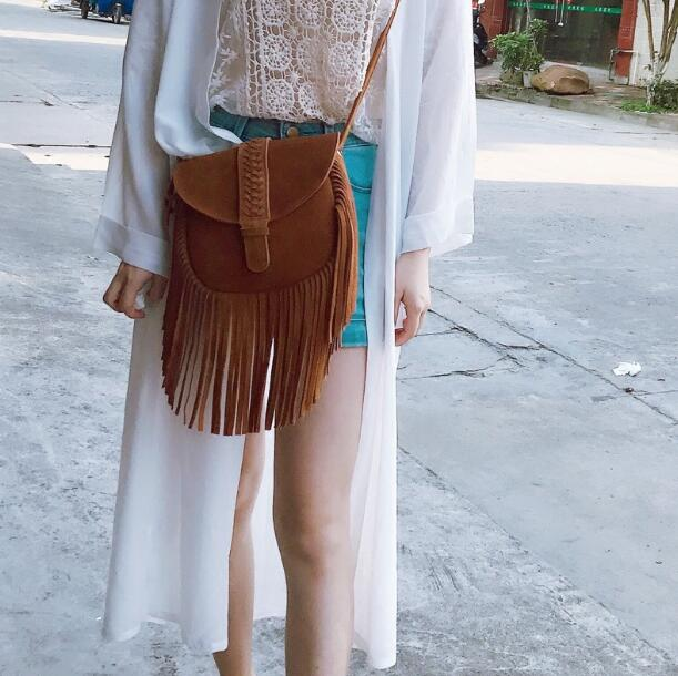Summer New Fashion Brown Suede Leather Women Long Fringe Shoulder Bags Cowboy Style Ladies Stylish Flaps Braid Knot Tassel Bags