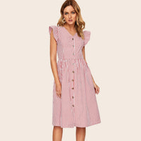 Summer Ruffles Button Shirt Dress for Women 2019 New Red Vintage Striped Knee-Length Vestidos Short Sleeve V-Neck Sexy Dresses