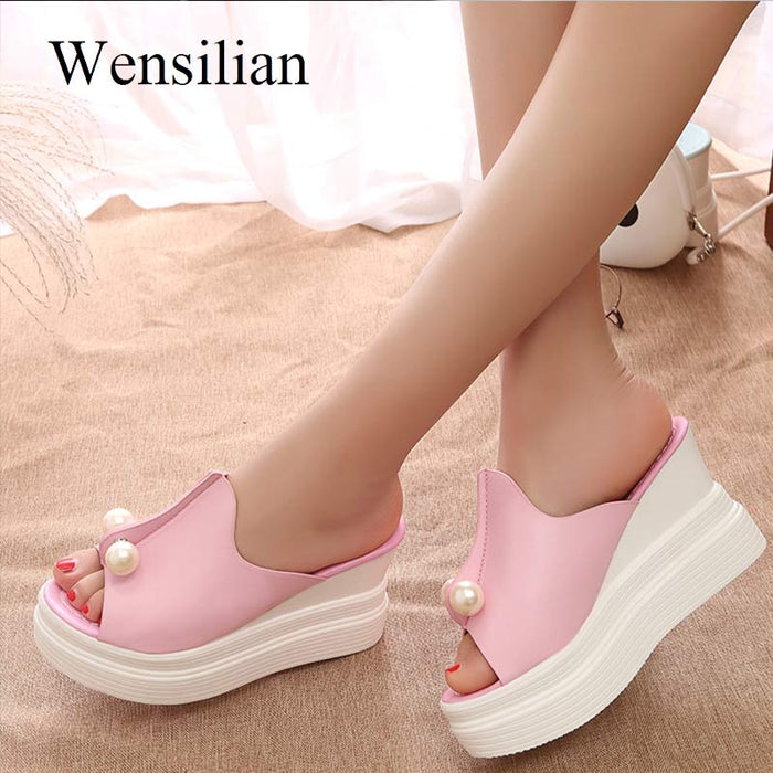 Summer Sandals Women Slippers Beach Shoes String Beads Platform Sandals Ladies Slides Wedges Thick Heels sandalias mujer 2019
