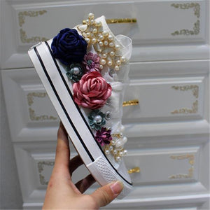 Summer Sneakers Wedges Canvas shoes Women's casual shoes Women's handmade custom Three-dimensional sequins Flowers White Flat