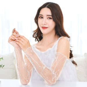 Summer UV Protection Lace Mesh Arm Sleeves For Women Cooling