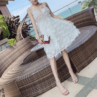 Summer V-neck Sexy Women Dresses Party Sweet Elegant Tassels Feathers Female Dress Strap Beach Dress Fashion Ladies Club Dress