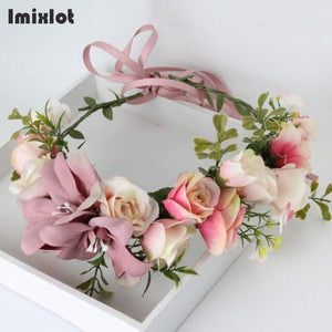 Summer Wedding Floral Crown Head Band Kids Party Wreath Floral Garlands with Ribbon Adjustable Flower Crown Rose For Women