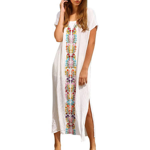 Beach Swimwear Smock Short Sleeve Long Dress Maxi Dresses Vestidos
