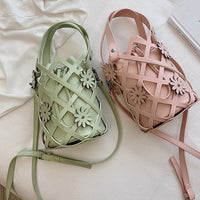 Summer Woven Hollow Out Flower Bucket Bags Women Handbags String PU Leather Shoulder Messenger Bag Design Crossbody Sacs A Main