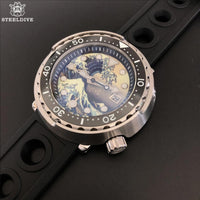 Automatic Dive Watch NH35 Sapphire Kanagawa Surfing 3D Full Luminous Dial Mechanical