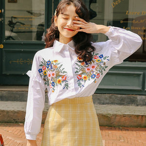 Shirts Stitching Lapel Blouses Long Sleeve Hook Floral Cardigan