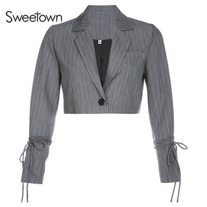 Sweetown England Style Striped Crop Jacket Autumn Streetwear Single Button Turn Down Collar Womens Jackets And Coats 2019