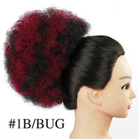 Synthetic Chignon Hair Bun Afro Kinky Curly Drawstring short Hair Pieces Bun clip in Diameter 10 Inch Hair Bun Afro hairpiece