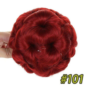 Synthetic Curly Chignon Bun Hairpiece For Women 9 Flowers Roller Clip in Fake Hair Accessories High Temperature Fiber SHANGKE