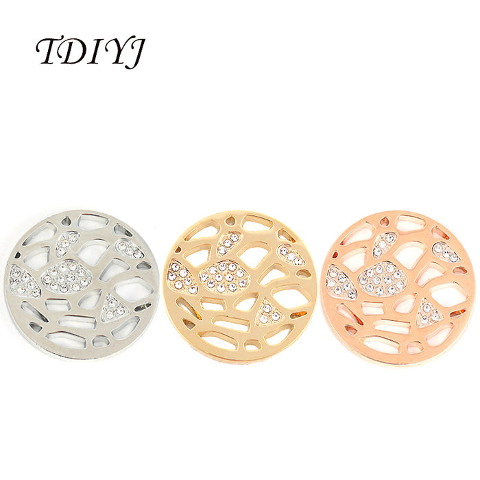 TDIYJ 6Pcs New Arrival 33mm Mixed Crystal Coin Disc for My Coin Holder Pendant Necklace Three Colors to Choose