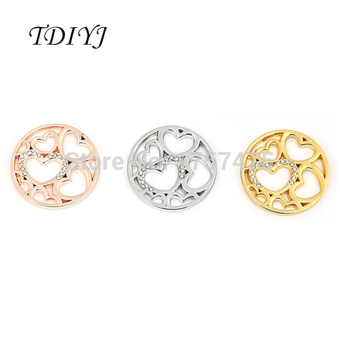 TDIYJ 6pcs High Quality 2019 33mm Mixed My Coin Alloy Love Heart Crystal Coin for Coin Holder Three Colors to Choose