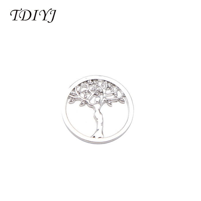 TDIYJ Fashion Alloy Vintage Life Tree Crystal My Coin Disc for Frame Coin Holder Necklace For Girl Gifts 6Pcs/lot