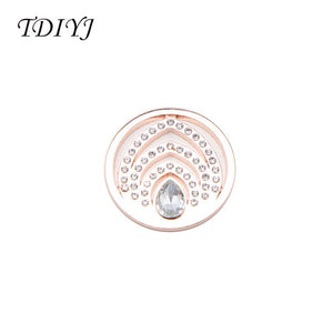 TDIYJ Fashion My Coin 33MM Alloy Vintage Crystal Coin Disc for Frame Coin Holder Necklace Best Women Gifts 6Pcs/lot