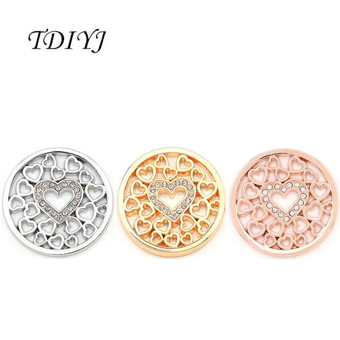 TDIYJ New Design My Coin 33mm Mixed Hollow Heart Large Coin Disc with Crystals for Coin Holder Pendant Necklace 6pcs/lot