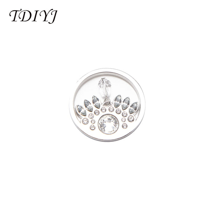 TDIYJ Newest Alloy Vintage Crystal My Coin Disc for Frame Coin Holder Pendent Necklace For Women Gifts 6Pcs/lot