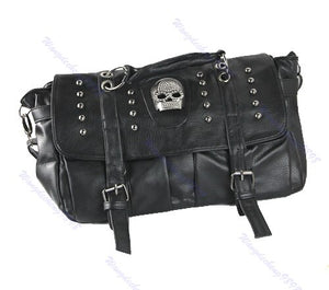 THINKTHENDO Punk Skull Rivet Shoulder Handbag Pu Leather Hobo Bag School Satchel