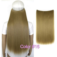"TOPREETY Heat Resistant B5 Synthetic Hair 20"" 50cm 50g Silky Straight Elasticity Invisible Wire Halo Hair Extensions"