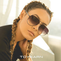 TOYEARN 2019 New Fashion Ladies Pilot Sunglasses Women Men Goggle Gradient Metal Sun Glasses For Female Mirror Shades UV400