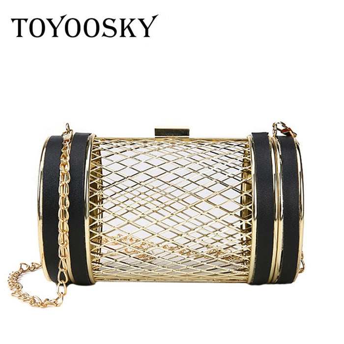 TOYOOSKY Fashion Design Personality Hollow Metal Cages Party Clutch Evening Bag Women Shoulder Bag Ladies Handbag Messenger Bags