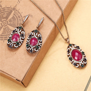 TSHOU229  New Jewelry Set Red Crystal Water Drop Pendant Necklace Earrings Set 2 Piece Set
