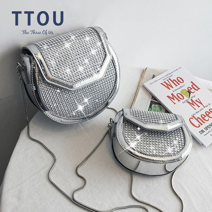 TTOU Summer Shiny Women Crossbody Bags Rhinestone Hollow Chain Bags for Female Mini Saddle Bag Fashion Messenger Shoulder Bags